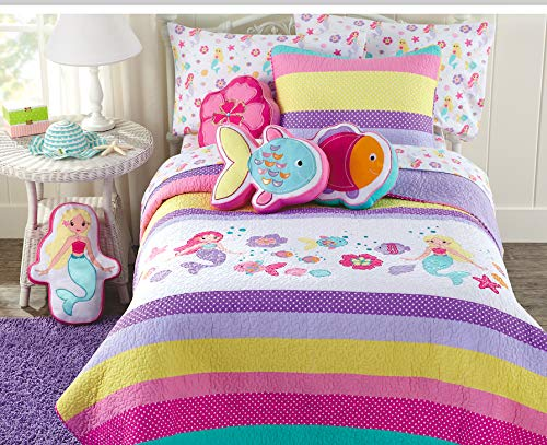 Cozy Line Home Fashions Lilah Mermaid Pink Purple Blue Yellow Green White 100% Cotton Embroidered Pattern Bedspread Bedding Quilt Set (Mermaid, Twin – 2 Piece)