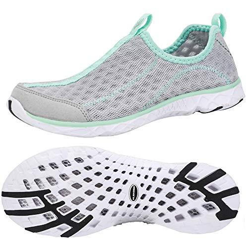ALEADER Tennis Shoes Womens Walking Shoes Fashion Sneakers Lt Grey/New Mint 6.5 B(M) US