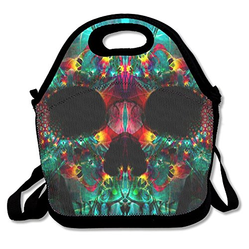 (ZGZGZ Dazzling Skull Head Adjustable Straps Lunch Box Bag Tote Holder Suitable For Students And Working)