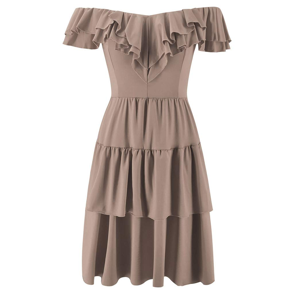 Yicolo Women Off The Shoulder Ruffles Hem Strapless Summer Sundress Mini Swing Cocktail Party Dresses (Khaki, XL) by Yicolo