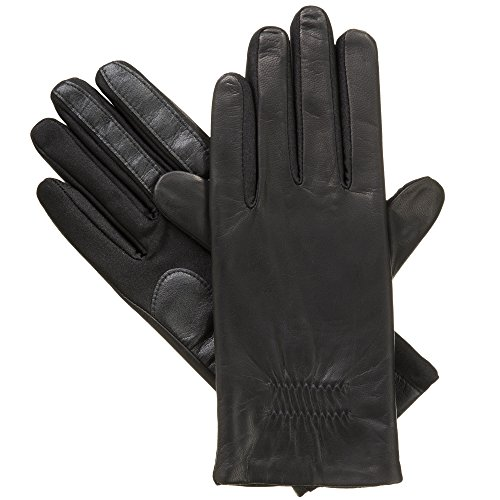 Isotoner Women's Classic Stretch Leather Touchscreen Cold Weather Gloves, Fleece Lining (Winter Gloves Cold)