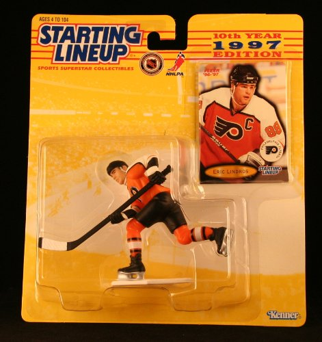 Philadelphia Flyers Nhl Player (ERIC LINDROS / PHILADELPHIA FLYERS 1997 NHL Starting Lineup Action Figure & Exclusive NHL FLEER '96/'97 Collector Trading Card)