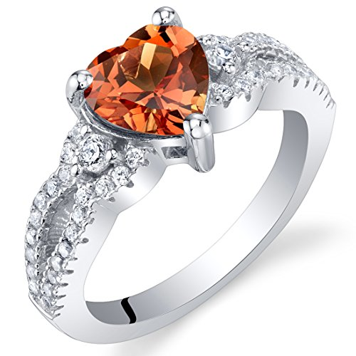 Natural Padparadscha Sapphire - Created Padparadscha Sapphire Heart Soulmate Ring Size 7