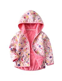 Baby Girls Polar Fleece Jackets Hoodie Jackets Reversible Coats Spring Outerwear