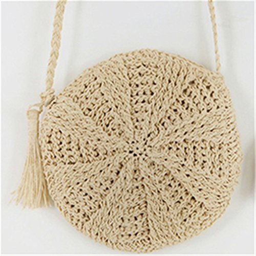 Braided Crossbody Round Bag Lady Knitted Beige Bohemian Tassel Straw Bags Messenger Circle Amuele Bag Beach Weave nvxwqpUwA
