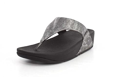 461212e0a0b960 Fitflop™ Lulu Shimmer Print Womens Toe Post Sandals 3 Black Shimmer Print