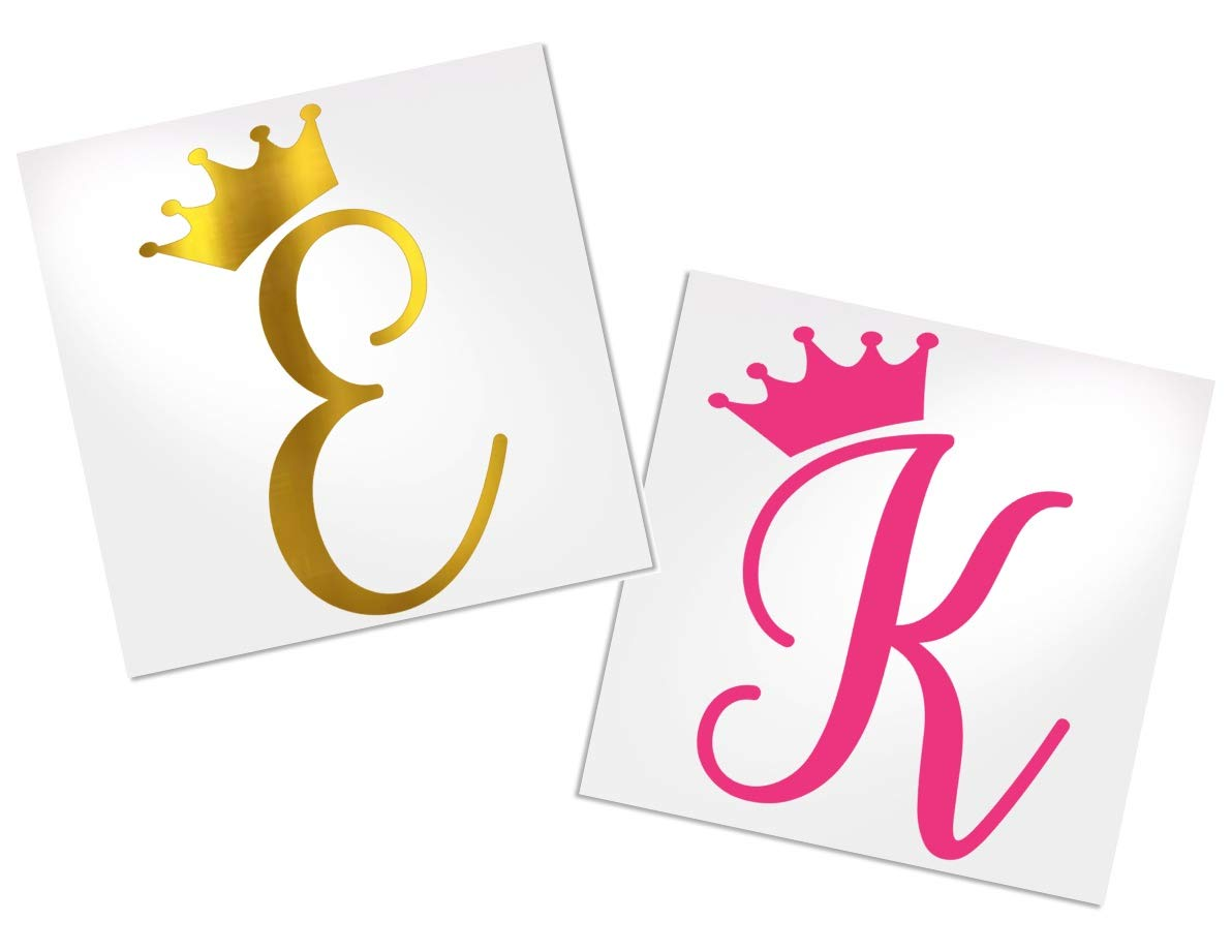 Letter Decal with Crown for Cup, Car, Planner, Laptop, Your Choice of Color & Style | Decals by ADavis by Decals by ADavis (Image #6)