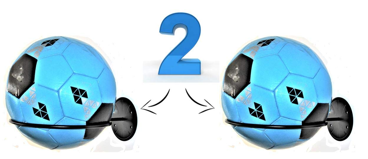 Place-Art. Sports Ball Holder & Organizer - New Heavy Duty, Wall Mount Ball Holder Rack Storage. (Set of 2)