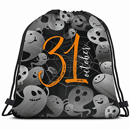 Dark Halloween Banner 31 October Transparent Art Holidays Drawstring Backpack Gym Dance Bags For Girls Kids Bag Shoulder Travel Bags Birthday Gift For Daughter Children Women]()