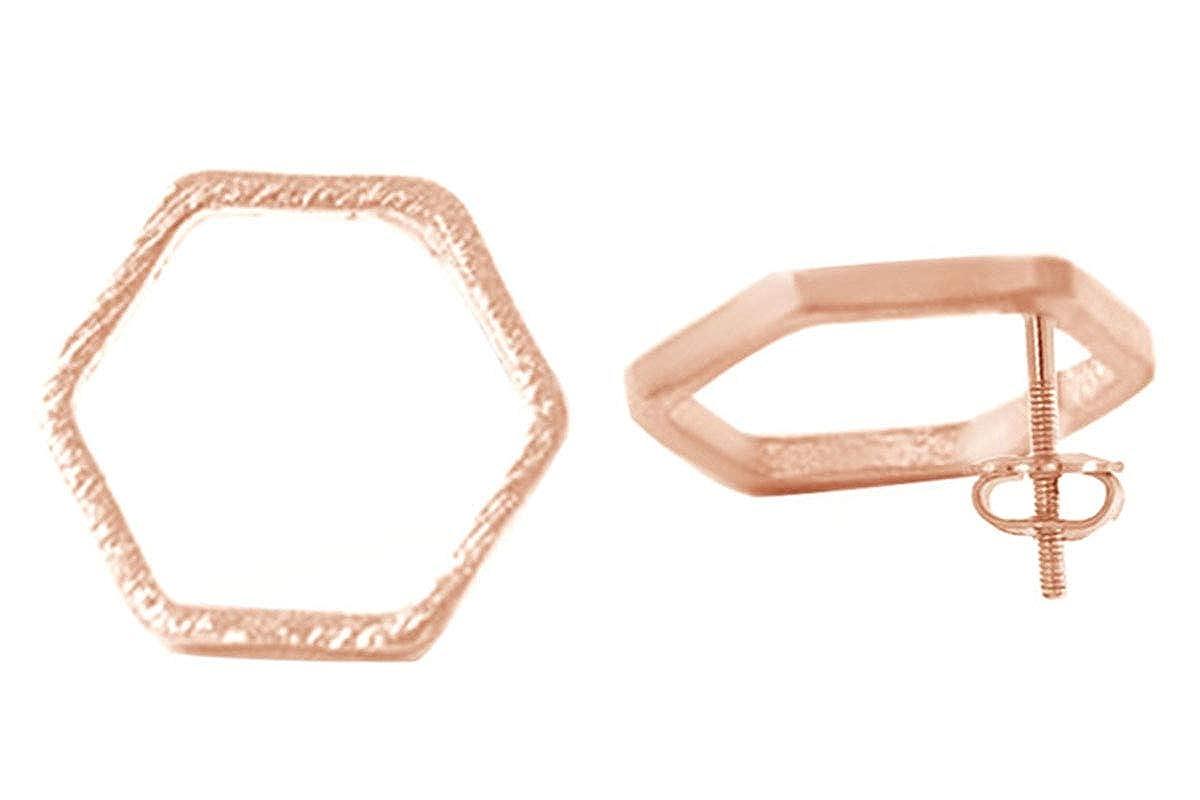 Simple /& Elegant Geometry Symbol Hexagon Stud Earrings In Gold Over Sterling Silver