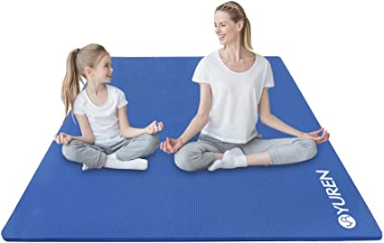 Amazon Com Yuren Yoga Mat Large Exercise Mat 4x7 Ft Extra Thick High Density Comfortable Nbr Foam Mat Workout Fitness Mat 2 5 Inch For Home Gym Yoga Pilates Stretching Sports Outdoors