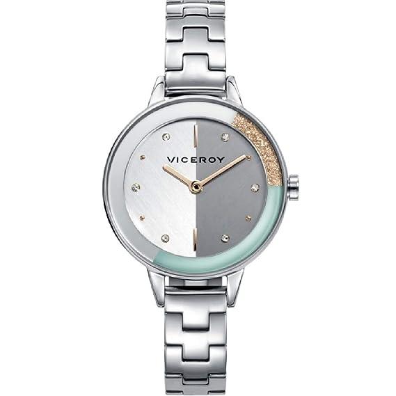 Viceroy 471180-07 Reloj de Mujer Cuarzo Acero Bisel Bicolor Brazalete Tamaño 30 mm: Amazon.es: Relojes