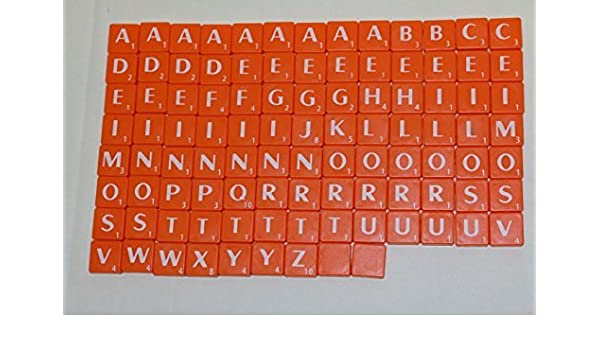 Nuevo Azulejos De Plástico Scrabble Cartas Plástico Naranja ...