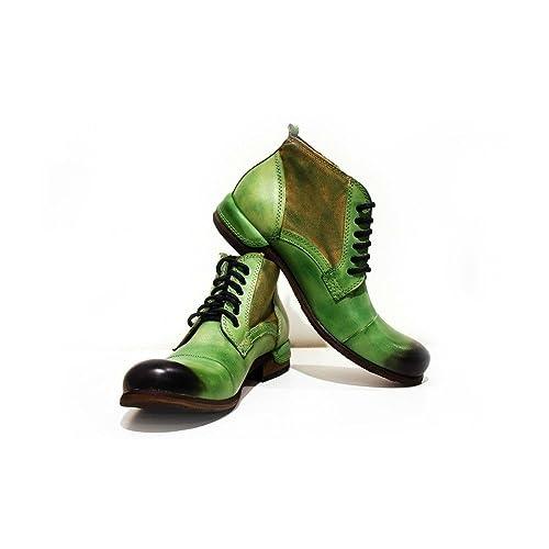 Modello Pescara - Cuero Italiano Hecho A Mano Hombre Piel Verde Botas Bajas Botines - Cuero Cuero Pintado a Mano - Encaje: Amazon.es: Zapatos y complementos