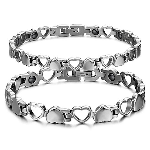 Titanium Steel Magnetic Therapy Link Bracelet Love Heart Health Care