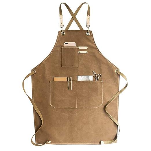 Hanshi HSW214 - Delantal de soldadura de lona encerada con múltiples bolsillos, herramientas resistentes, delantal de trabajo de tienda, ...