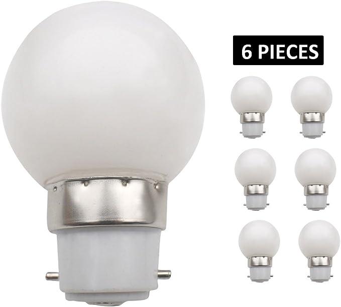jcking (Paquete con 6) B22d pelota de golf cerveza jardín iluminación lámpara coloreado bombillas para terraza Fiesta Navidad – Color Blanco: Amazon.es: Iluminación