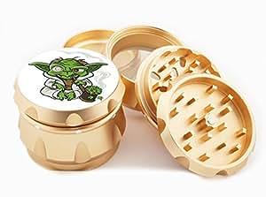 """Smoking Yoda Design Premium Grade Aluminum Tobacco,Herb Grinder -4Pcs Large (2.5"""" Gold) # GLD-053014-004"""