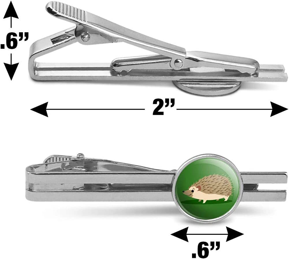 GRAPHICS /& MORE Hedgehog on Green Round Tie Bar Clip Clasp Tack Silver Color Plated