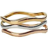 LuckyLy – Anillo para Mujer Alessa – Anillos Acero Inoxidable Mujer – Diseño Moderno Multi-Lazo Combinado – Color Oro, Plata y Oro Rosado – Talla Standard (7)