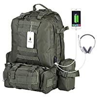 VIDENG POLO PC29 55L Tactical Military Backpack with USB Charger Port Molle Compatible with 3 Detachable Pockets Rucksack Backpack for Camping Hiking Mountain Trekking