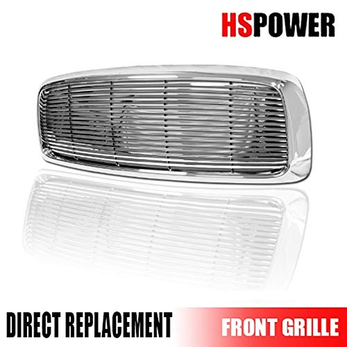 HS Power Chrome Horizontal Billet Front Hood Bumper Grill Grille Cover 2002-2005 for Dodge Ram 1500/2500 / ()