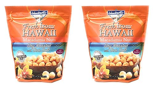 MacFarms Dry Roasted Macadamia Nuts With Sea Salt Fresh From Hawaii 24 Ounce, 2 pack