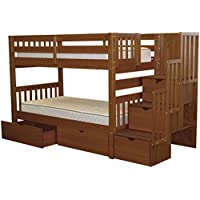 Bedz King Stairway Bunk Beds Twin over Twin with 3 Drawers in the Steps and 2 Under Bed Drawers, Espresso