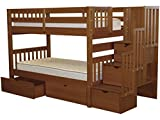 Bedz King Stairway Bunk Beds Twin over Twin with 3 Drawers in the Steps and 2 Under Bed Drawers, Espresso For Sale