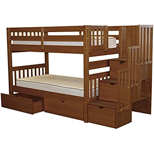 Bedz King Stairway Bunk Beds Twin Over With 3 Drawers In The Steps And 2 Under Bed Espresso