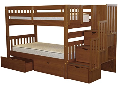 Bedz King Stairway Bunk Beds Twin over Twin with 3 Drawers in the Steps and 2 Under Bed Drawers, Espresso ()