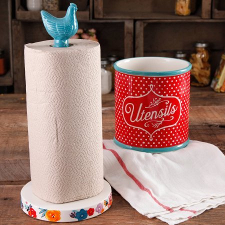 (The Pioneer Woman Flea Market Stoneware Turquoise Paper Towel Holder And)