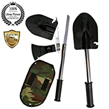 Meanhoo multi-function Four Tools Shovel Axe Saw the sappers Shovel folding Shovel Utilities implement for Household Hunting Survival camping