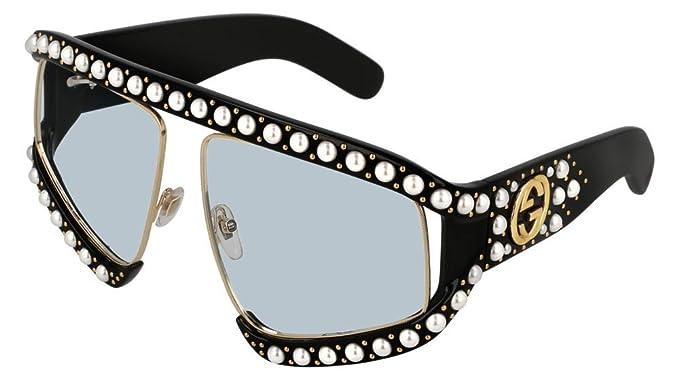 Amazon.com: anteojos de sol Gucci GG 0234, s- 001 negro/azul ...