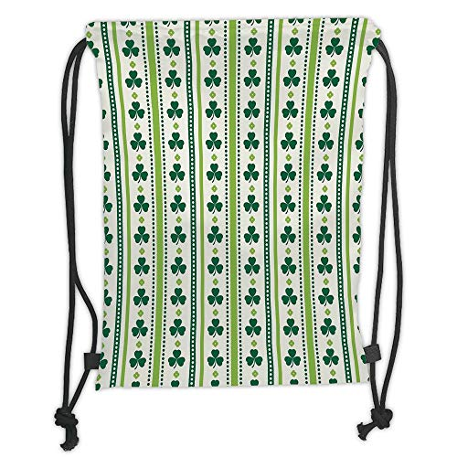 New Fashion Gym Drawstring Backpacks Bags,Floral,Clovers Vertical Lines and Dots Irish Traditional Floral Pattern,Lime Green Dark Green White Soft Satin,Adjustable String Closure,