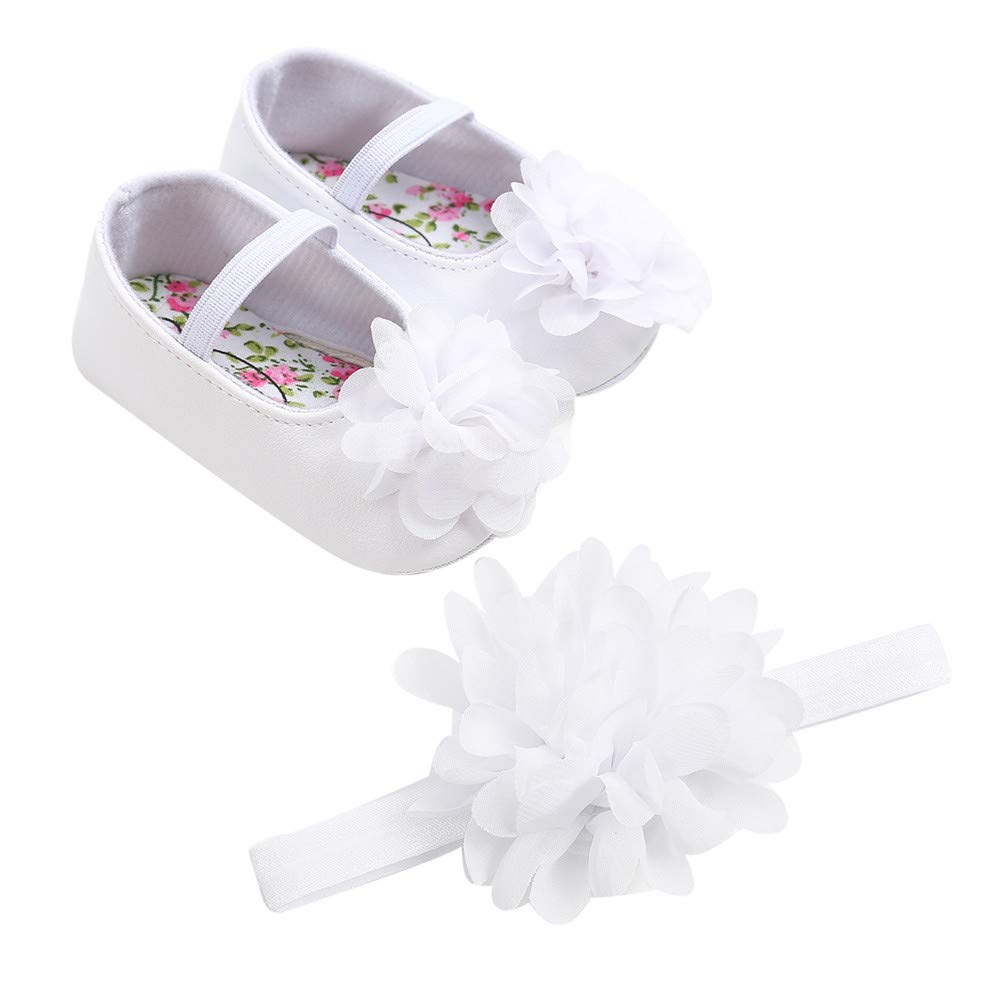 Toddler//Little Kid Lurryly Girls Floral Shoes+Headband Casual Anti-slip Soft Sole Shoes