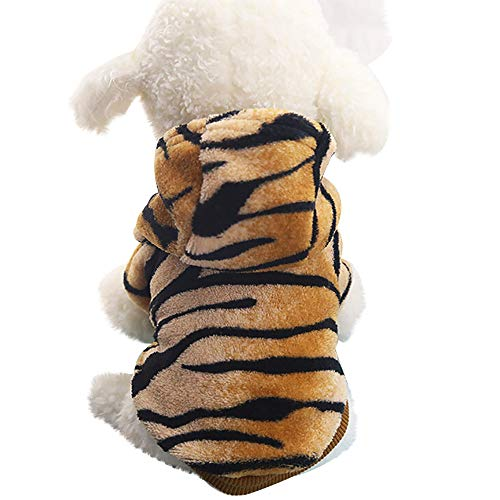 Pet Clothes Hoodie Button up Coat Puppy Dog Cat Cute Jacket Tiger Transfiguration Cosplay Party Dress up Costumes (Coffee, -