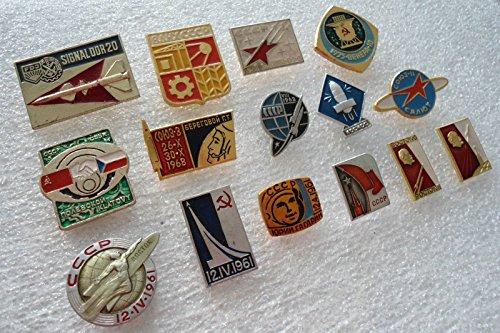 Soviet Space Program 15 set lot Russian USSR Pin Badges Vostok Moon Gagarin