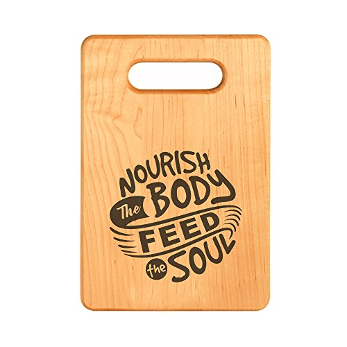 (House Warming Gift Idea - Personalized Wooden Cutting Boards, Nourish the Body Feed the Soul, Small | Engraved Design for Birthday, Anniversaries, Weddings, New Home Celebrations)