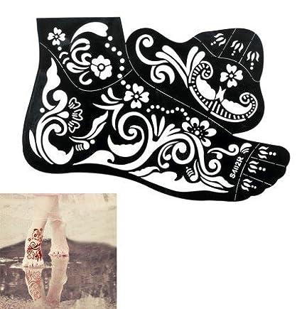 2 Fogli di grandi dimensioni Mehndi Tattoo Stencil Mehndi Tatuaggi all'hennè S402 per i piedi - Usa e getta - Per Tatuaggio all'henné, scintillio tatuaggio e airbrush tatuaggio Tie