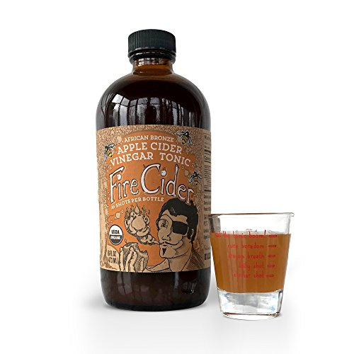 (Fire Cider, Apple Cider Vinegar Tonic with African Bronze Honey & Dosage Shot Glass, Natural Detox & Cleansing, Pure & Raw, Certified Organic Ingredients, No Heat Processed, 16 Shots, 8 oz.)