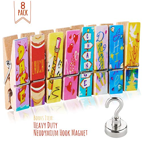 Clothespin Magnet Clips - Fridge Magnets - 8 Unique Decorative Magnetic Clips + Strong Hook magnet - Display Photos & Memos On a Refrigerator, Locker, Whiteboard, Office, Classroom In a Cute & Fun Way By Treats&Smiles