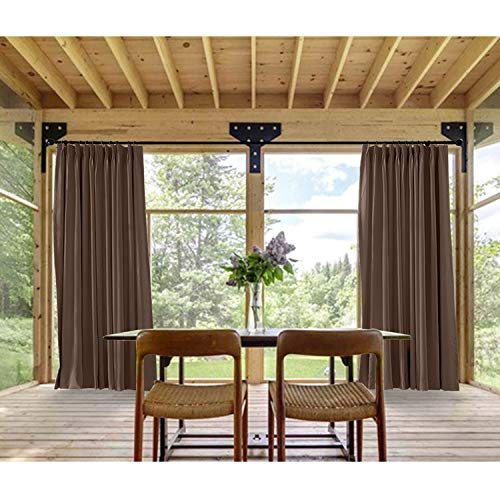 Macochico Chocolate Outdoor Indoor Watre Resistant Curtains for Library Hotel Classroom Kids Room Thermal Insulated Light Proof Anti-Noise Home Decoration Pinch Pleat Drape 84W x 102L (1 Panel) by Macochico (Image #2)