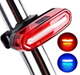 Bike Tail Light, Bike Rear Light,Super Bright LED Bicycle TailLight USB Rechargeable, 6 Light Modes,Cycling Safety Flashlight,Waterproof Helmet Light for Road/Mountain Bikes,Helmets,Backpack(Red-Blue)