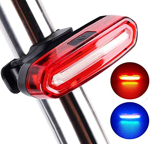 Bike Tail Light, Bike Rear Light,Super Bright LED Bicycle TailLight USB Rechargeable, 6 Light Modes,Cycling Safety Flashlight,Waterproof Helmet Light for Road/Mountain Bikes,Helmets,Backpack(Red-Blue) by Onedayshop®