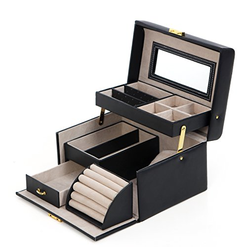 Set Brooch Gift (SONGMICS Jewelry Box Girls Jewelry Organizer Lockable Mirrored Storage Case for Women Black UJBC114)