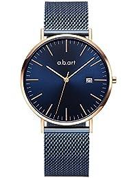 abart Men Watch FB41-012-5S Calendar Display Mesh Band Mens Watches (Blue)