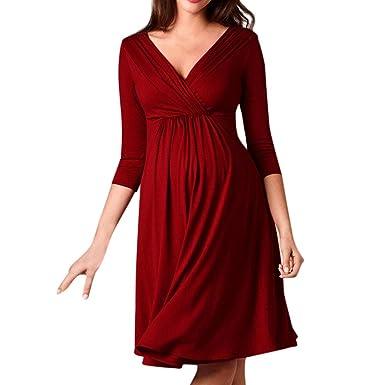 69d5a8e238a6 LOVELYOU Femmes Enceinte Longue Robe,Maternité Manche Longue V-Cou Femmes  Vêtements Casual Grossesse