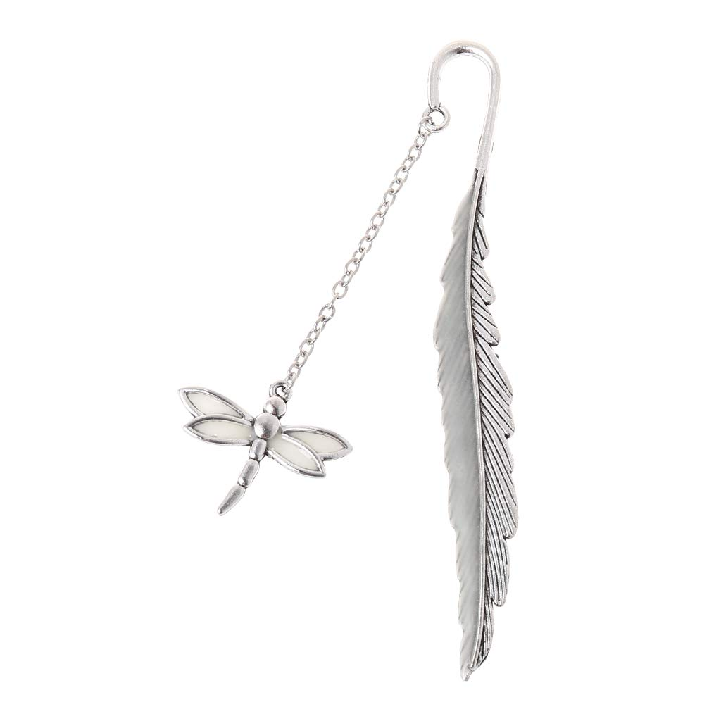 Wanfor Glow in The Dark Luminous Book Marker Creative Feather Dragonfly Bookmark Label School Office Stationery