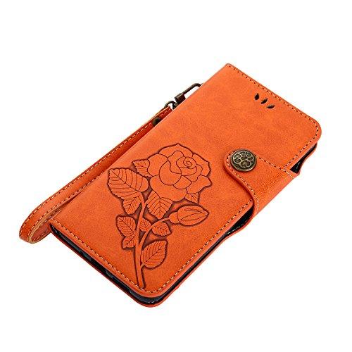 MEIRISHUN Leather Wallet Case Cover Carcasa Funda con Ranura de Tarjeta Cierre Magnético y función de soporte para Huawei P10 Lite - Verde naranja